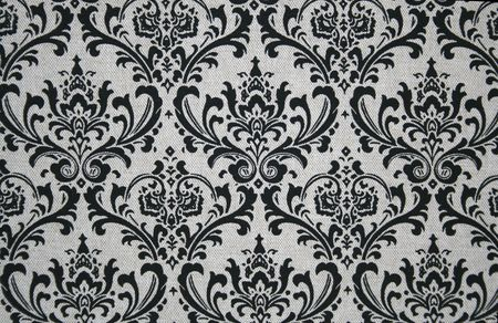 Black on grey seamless damask pattern. photo