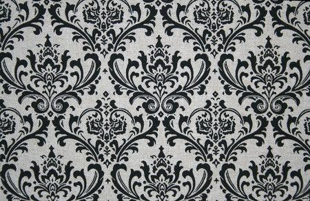 Zwarte op grijs naadloze damask patroon. Stockfoto