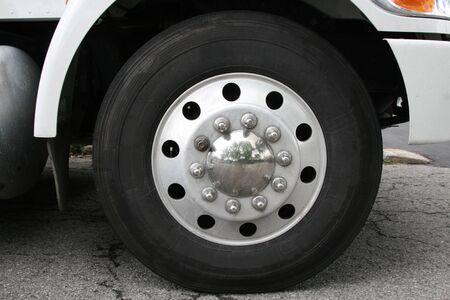 Closeup view of a rubber tire on a truck  photo