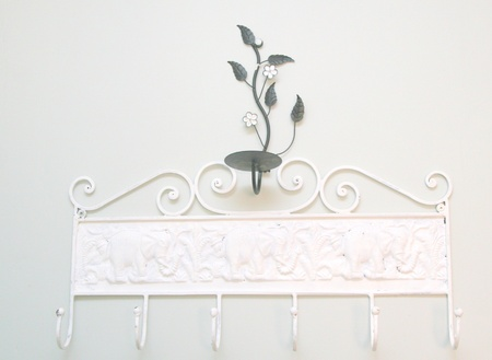 candle holder: Embossed vintage metal hanger with candle holder Stock Photo