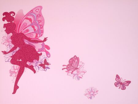 Pink wall with butterfly decals                               Foto de archivo