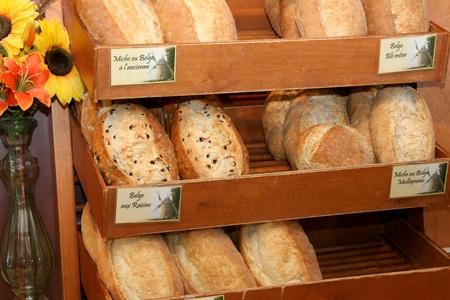 Variety of breads in bakery shelf