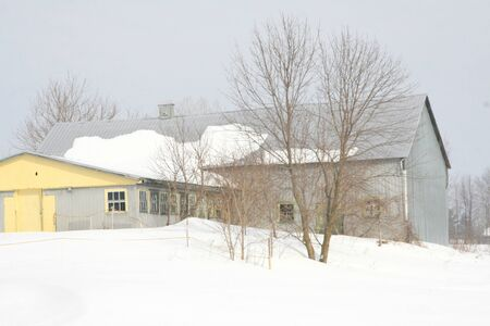 Grey barn with yellow door on a snowy grey day