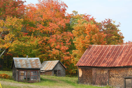 Old barns and sheds in rural countryside of Maine