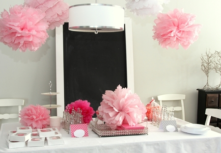 Baby girl shower table Stock Photo