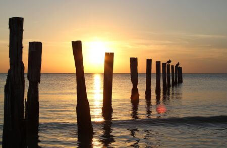 Mooring posts at sunset in the ocean