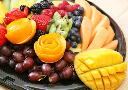 Variety of fresh healthy fruit on a plate