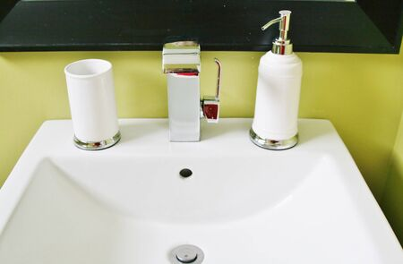 View of sink with accessories