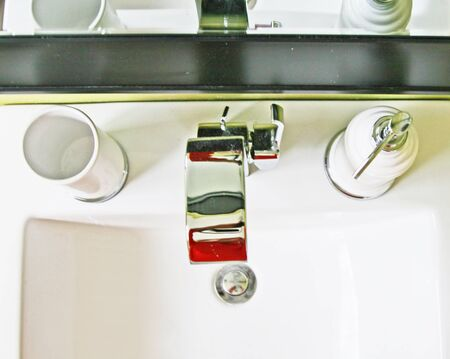 View of sink with accessories from above