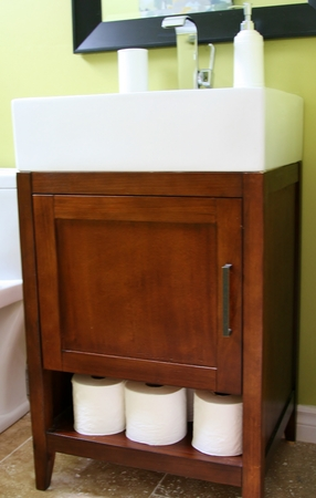 Modern sink on top of wood cabinet and open shelf Stock Photo