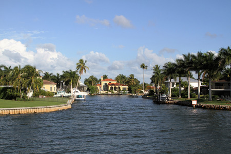 Elegant homes along a canal in Florida