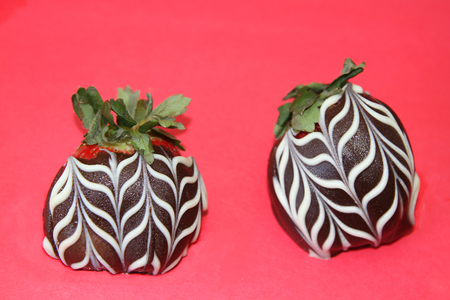 Chocolate coated strawberries with white swirls on red background Stock Photo