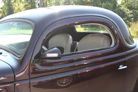 Restored vintage car with view of leather seats