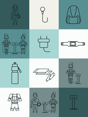 Ems training icons. Electric muscular stimulating fitness symbols. Fitness center design elements. Personal trainer and sportsman. Line flat concept. Sports company pictogram. Vector illustration