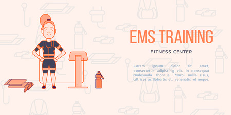 stimulating: Ems training web banner or flyer in flat style. Electric muscular stimulating fitness concept. Personal trainer with equipment. Sports company vector illustration Illustration