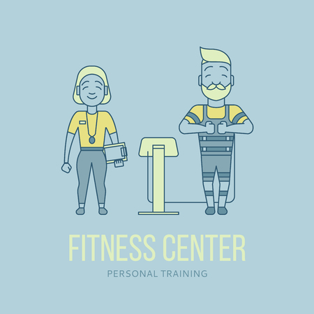 stimulation: Ems training. Electric muscular stimulating fitness. Fitness center banner. Personal trainer and sportsman. Line flat concept. Sports company flyer, sticker. Vector illustration Illustration