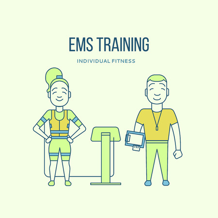 Ems training. Electric muscular stimulating fitness. Fitness center banner. Personal trainer and sportsman. Line flat concept. Sports company flyer, sticker. Vector illustration 向量圖像