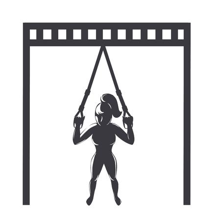 Trx トレーニングのアイコン。フィットネスのストラップでエクササイズを行う少女。ベクトル図  イラスト・ベクター素材