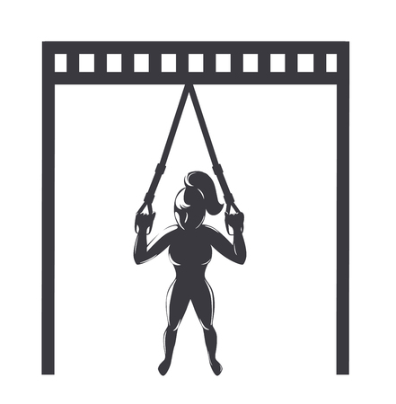 Trx training icon. Girl doing workout with fitness straps. Vector illustration Stock Illustratie