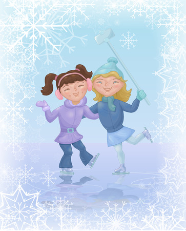 skating rink: Two girls ice skating and taking selfie. Cute cartoon characters at skating rink. Christmas card with kids doing winter sports
