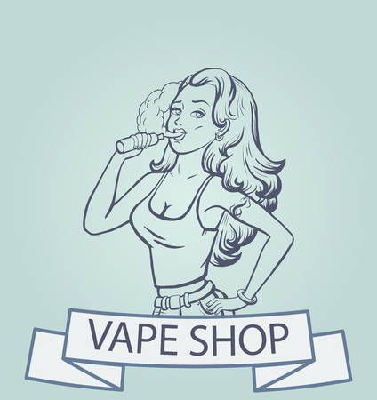 electronic: Vape shop logo. Beautiful girl with electronic cigarette. Vape shop banner, concept. Vector illustration Illustration