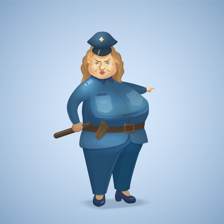 Policewoman in uniform. Cartoon police officer character. Vector illustration