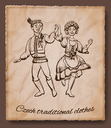Czech traditional clothes vector illustration. Man and woman dancing in national czech costume.