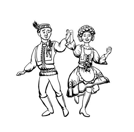 Tschechische traditionelle Kleidung Vektor-Illustration. Mann und Frau dan