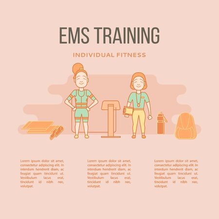 stimulate: Ems training web banner or template in flat style. Electric musc Illustration