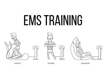 Ems 운동 단계. 전기 근육을 자극하는 휘트니스 벡터 일러스트