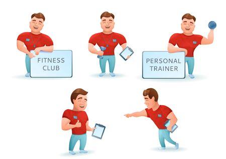 gymnasium: Personal fitness trainer set. Cartoon characters. Vector illustr