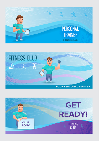 Fitness banners or flyers set with personal trainer.Vector illus Illustration