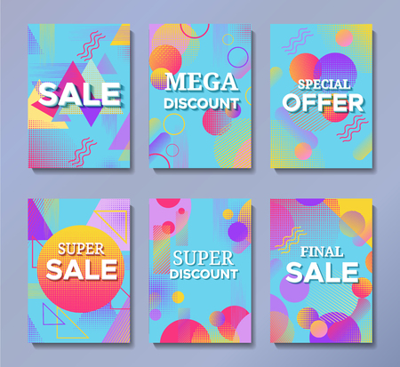 Sale posters set in trendy 80s-90s memphis style with geometric