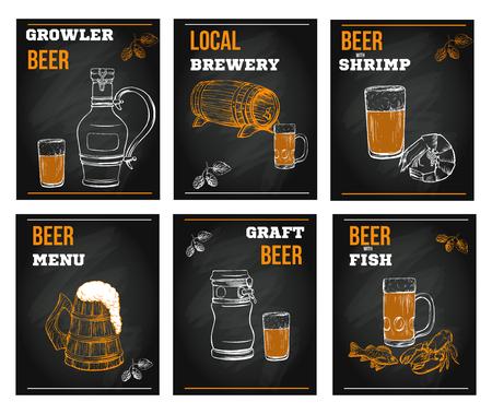 Beer menu elements in sketch hand drawn style on chalkboard incl Ilustracje wektorowe