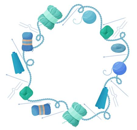 Handgemacht oder strickender Hintergrund mit Rahmen von Garnsträngen, stricken Standard-Bild - 75231117