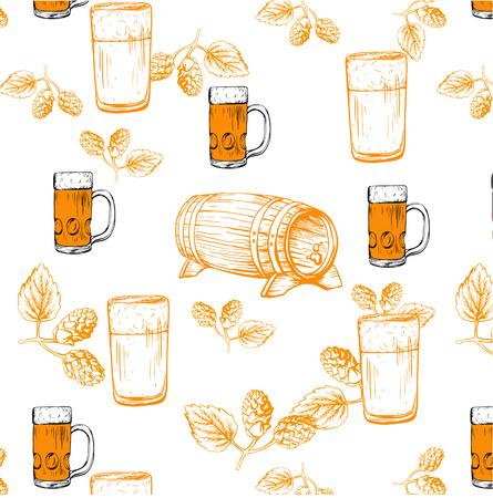 Beer seamless pattern vector illustration, template for menu Illustration