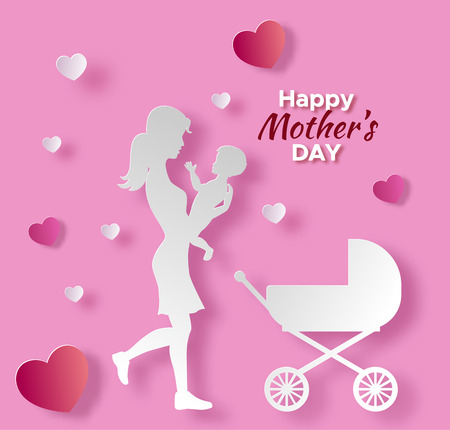 Mothers day origami paper art greeting card with mom.