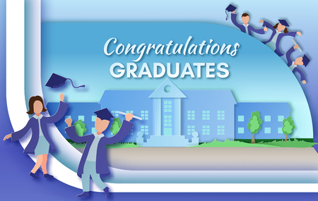 achievement concept: Graduation party background in paper art style with happy cartoo