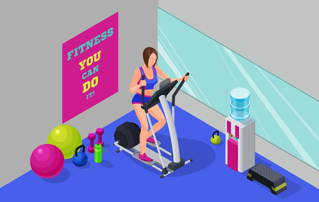 Fitness cardio workout isometric illustration with girl running Illustration