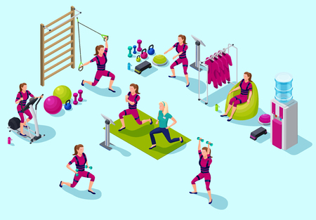 Isometric infographic ems fitness  studio with people doing elec Illustration