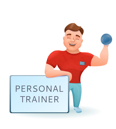 Personal fitness trainer or bodybuilder with dumbell cartoon cha