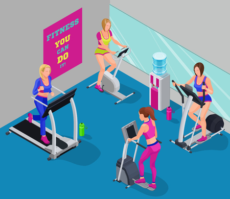 Isometric illustration fitness cardio workout with girls running elliptical machine, stepper, bicycle, good for sport infographics Illustration