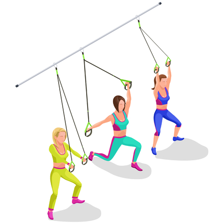 health and fitness: Isometric infographic illustration with group of girls doing suspension workout with straps, belts and other modern sports equipment Illustration