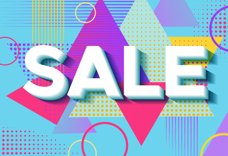 sales promotion: Sale poster in trendy 80s-90s memphis style with geometric patte Illustration