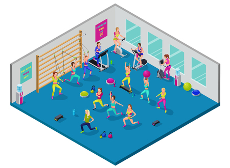 gym equipment: Isometric fitness illustration with group of girls and trainer at sports center  doing workout with dumbells, platforms, fit ball, suspension belts, running elliptical machine, stepper, bicycle