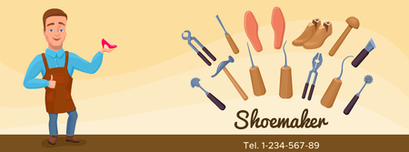 Shoemaker cartoon character banner or poster with cobbler tools Illustration