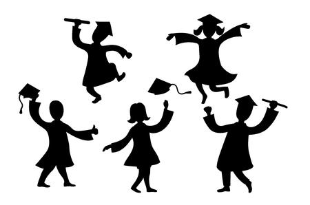Graduados personajes de dibujos animados negro bailando y saltando siluetas