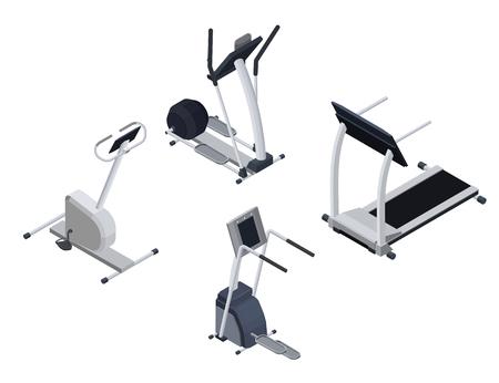Spots cardio isometric equipment set with elliptical machine, st Illustration