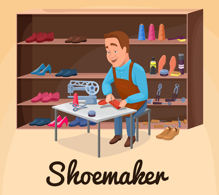 Shoemaker cartoon character sewing shoes with cobbler tools colorful vector illustration including carpenter repair instruments, boots, sewing machine, glue, threads, brushes