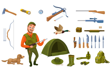 Hunter cartoon set with male character, dog, guns, hat, compass, Illustration